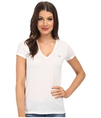 Lacoste Short Sleeve Classic V Neck Tee White Women's T Shirt