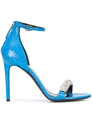 Calvin Klein 205W39nyc Jewelled Sandals Leather Python Skin Blue