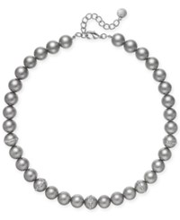 Charter Club Silver Tone Imitation Gray Pearl Necklace Only At Macy's