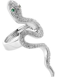 Cz By Kenneth Jay Lane Cubic Zirconia Pave Snake Ring Silver