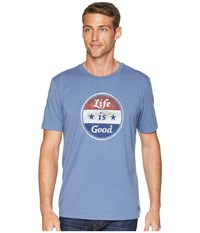 Life Is Good Americana Coin Crusher Tee Heather Vintage Blue T Shirt