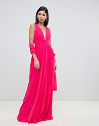 Forever Unique Floaty Plunge Maxi Dress Pink