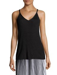 Lafayette 148 New York Radiant Shimmer Rib Knit Tank Top Black