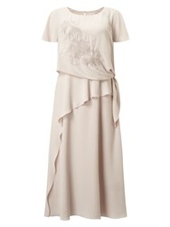 Jacques Vert Tie Side Embroidered Dress Neutral