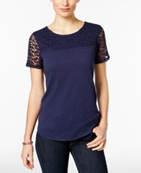 Charter Club Short Sleeve Lace Yoke Top Only At Macy's Intrepid Blue