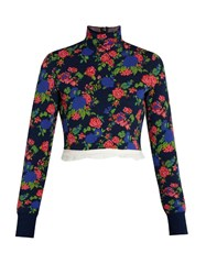 Msgm High Neck Floral Knit Cropped Top Navy Multi
