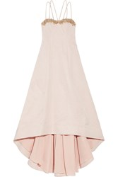 Marchesa Asymmetric Embellished Cotton And Silk Blend Twill Gown Pink