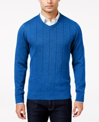 John Ashford Men's Big And Tall V Neck Striped Texture Sweater Only At Macy's City Blue