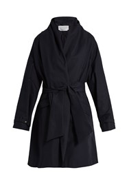 Gabriela Hearst Audley Draped Cotton Cocoon Coat Navy