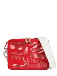 Lanvin Perforated Logo Leather Camera Bag Red