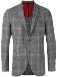 Eleventy Checked Blazer Men Silk Linen Flax Cupro Wool 50 Grey