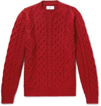 Mr P. Cable Knit Merino Wool And Cashmere Blend Sweater Red