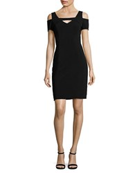 Nue By Shani Solid Cold Shoulder Sheath Dress Black
