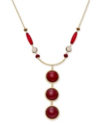 Inc International Concepts Gold Tone Triple Stone Necklace Only At Macy's Red
