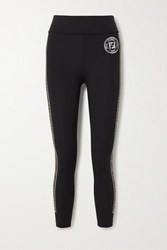 Fendi Printed Stretch Leggings Black