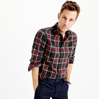 J.Crew Slim Midweight Flannel Shirt In Black And Red Tartan