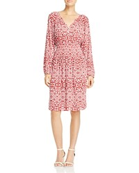 Foxcroft Liza Geo Print Crepe Dress Ruby Red