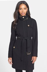 Petite Women's Michael Michael Kors Stand Collar Wool Blend Trench Coat