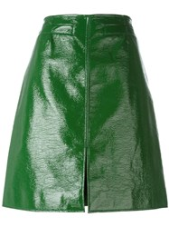 Courreges Front Slit Pencil Skirt Green