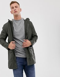 French Connection Coated Hooded Borg Lined Parka Green