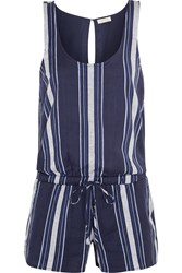 Soft Joie Miri Striped Cotton Jacquard Playsuit Blue