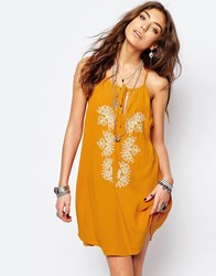 Kiss The Sky Festival Dress With Embroidery Yellow