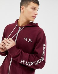 Abercrombie And Fitch Sleeve Logo Full Zip Hoodie In Burgundy Red