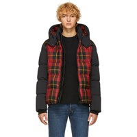Mackage Red And Black Down Plaid Rylan Jacket