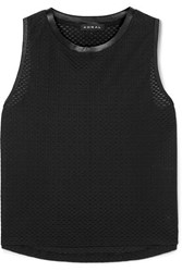 Koral Muscle Satin Trimmed Stretch Mesh Tank Black