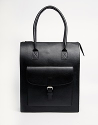 Pieces Tote With Front Pocket And Strap Detail Black