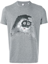 Aspesi Abstract Print T Shirt Men Cotton Polyester L Grey