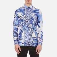 Versace Collection Men's Printed Silk Shirt Blue