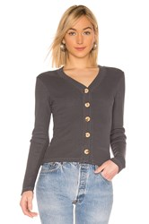 Monrow Wooden Button Cardigan Charcoal