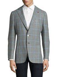 Isaia Slim Fit Gingham Wool And Cotton Sportcoat Blue