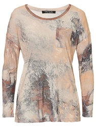 Betty Barclay Long Sleeve Printed T Shirt White Apricot
