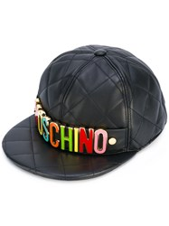Moschino Logo Plaque Quilted Snapback Women Sheep Skin Shearling Viscose S Black