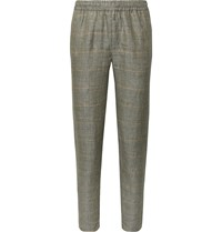 De Bonne Facture Easy Prince Of Wales Checked Washed Linen Drawstring Trousers Green