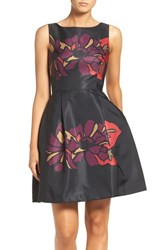 Taylor Dresses Women's Placed Floral Fit And Flare Dress Black Plum