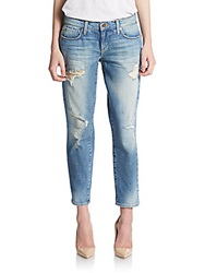 Genetic Denim Alexa Distressed Skinny Straight Crop Jeans Manic Blue