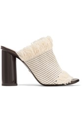 Proenza Schouler Fringed Woven Canvas Mules Off White
