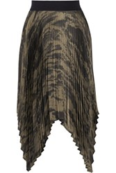 Enza Costa Asymmetric Pleated Printed Satin Skirt Multi