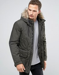 Celio Parka With Faux Fur Hood Green