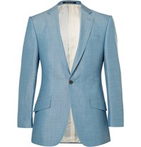 Richard James Blue Slim Fit Wool Linen And Mohair Blend Suit Jacket Blue