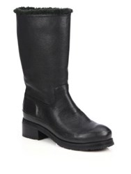 Hunter Original Shearling Lined Leather Boots Black