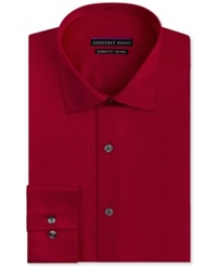 Geoffrey Beene Non Iron Fitted Stretch Sateen Solid Dress Shirt Cranberry Red