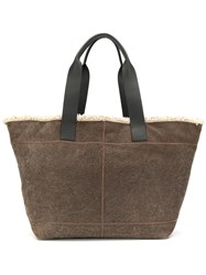 Brunello Cucinelli Shearling Lined Tote Bag Grey