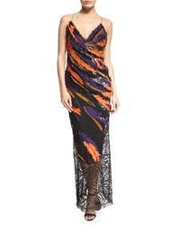 Versace Sleeveless Sequin Feathered Open Back Gown Multi Colors Women's Size 38 Multi Color