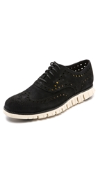 Cole Haan Zerogrand Wingtip Oxfords Black Kudu Suede