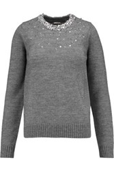 Dkny Bead And Sequin Embellished Knitted Sweater Gray