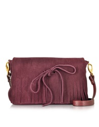 L'autre Chose Suede Crossbody Bag Wine